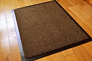 MEDIUM BROWN /BLACK NON SLIP DOOR MAT RUBBER BACKED RUNNER BARRIER MATS RUG PVC EDGED KITCHEN MAT(60 X 80 CM)