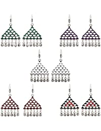 Jaipur Mart Brass Metal Afghani Earrings Combo Of 5 Pairs For Women (AFE002CMB)