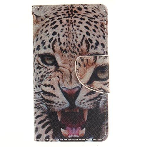Anlike für Wiko Sunny / Sunset 2 (4 Zoll) Hülle / Handyhülle / Schutzhülle / Ledertasche / Tasche / Case / Cover / Flip Brieftasche / Bookstyle mit Standfunktion Kredit Karteneinschub und Magnetverschluß - Afrikanischer Leopard