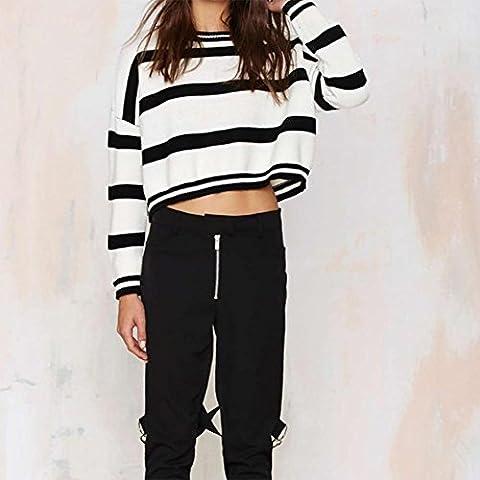 YUYU Donne maglione camicia Stripe maglia top corta buon bianco