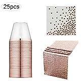 Adminitto88 Premium Posate in Plastica 90 Set Oro Rosa Trasparente Monouso Durevole Set di Posate Tazza 25 Pezzi tovagliolo 25 Pezzi tovaglia 1 Pezzi 1 Asciugamano di Carta