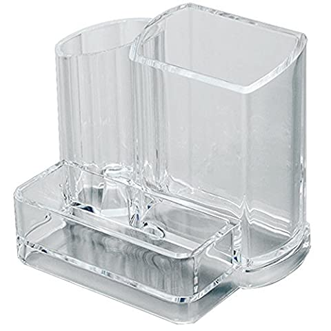 AcryliCase Clear Acrylic Makeup Organizer, Arranges Makeup Brushes And Cosmetics, 3 Compartment Storage Display Holder