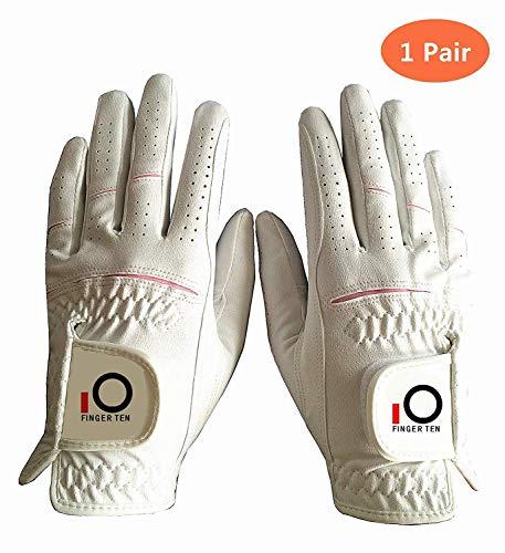 FINGER TEN Golfhandschuh Damen Paar Linke und Rechte Beide Hand Mikrofaser Allwetter Regentag Nass Heiß Golf Handschuh Links Rechts Griff Haltbarkeit Weicher Komfort Größe XS S M L XL(S)
