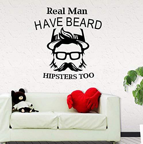 Dalxsh Real Man Barber Shop Aufkleber Hacken Brot Aufkleber HaarschnittVinylWandkunst AufkleberDekorDekoration Wandbild 58X60 Cm