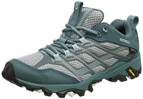 Merrell Ladies Moab Fst Gtx Trekking & Trekking Low Shoes Green (sea Pine)