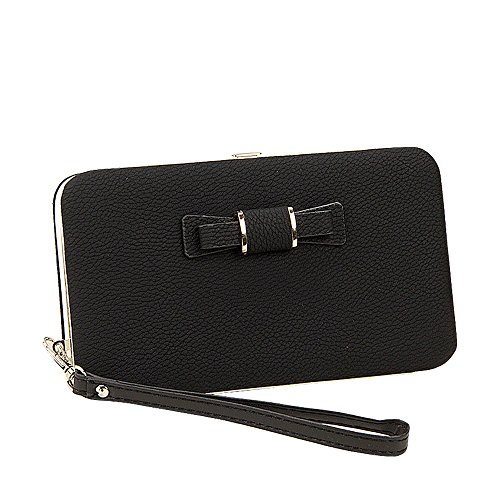 BIG SALE- 40% OFF -Woolala Phone Clutch Wallet Multi-pattern Iphone Samsung Phone Wallet Case with Wristlet, GeometryBlack BowBlack