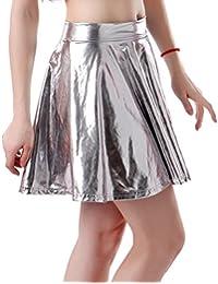 HDE Women's Shiny Wet Look Flared Pleated Skater Skirt