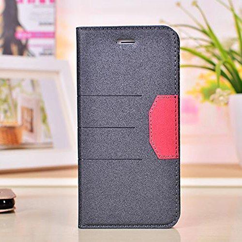 Schlank und dünn gemischte Farben glänzende funkelt Muster Magnetische Verschluss Horizontale Flip Stand PU Ledertasche Cover mit Kickstand & Card Slot für iPhone 6 & 6s ( Color : Red ) Black