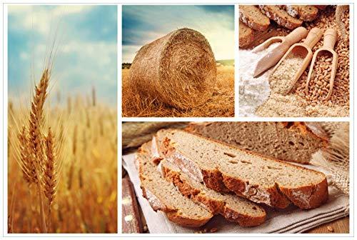 Wallario Acrylglasbild Weizen und Mehl Vom Korn zum Brot - 60 x 90 cm in Premium-Qualität: Brillante Farben, freischwebende Optik