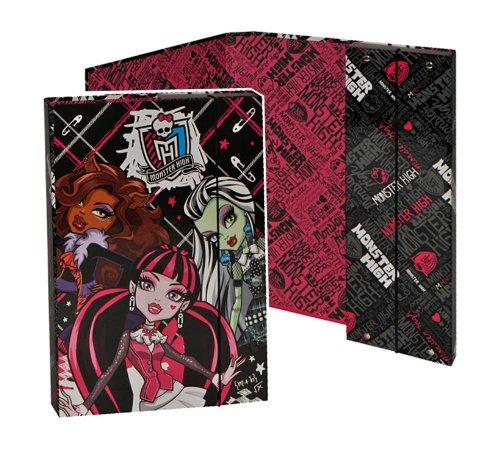 Unbekannt Ordner für A5 Monster High - für Hefte Ringbuch Kinder Mädchen pink Gothik Puppen Mappe Ordnungsmappe Hefter Heftbox A 5