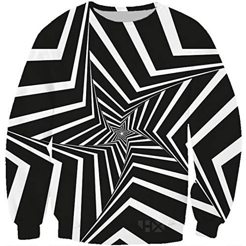 Hypnotisches 3D Druck-Schwarzweiss-T-Shirt/Hoodie/Sweatshirt der Schwindel-Unisexillusions-Kunst-Coole Straßen-Spitzen Black Asian Size XXXXL (Cherokee Herren T-shirt Schwarz)