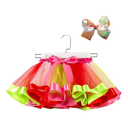 (Amphia - (2-11T Karneval-Tutu-Rock für Kinder - Mesh-Rock + Bogenhaarband - Mädchen Kinder Tutu Party Dance Ballett Kleinkind Baby Kostüm Rock + Bogen Haarnadel Set)