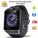 i-tek ® SW09Android 4.4Smartwatch connette Wi-Fi 3G Bluetooth Google Play 4GB Memory nera immagine