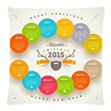 Ackershop 2015 Calendar With Blue Green Red Orange Blocks pattern pillowcase 18 X 18 inch Zippered Throw pillow cover one-side printing 2 Way Cloth (custom Personalized pillowcase)