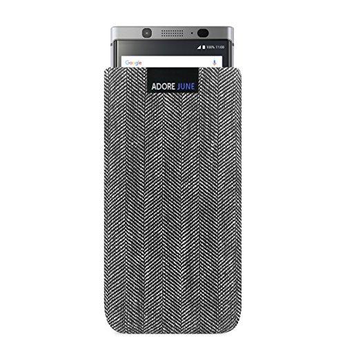 Adore June Business Tasche für BlackBerry KeyOne Handytasche aus charakteristischem Fischgrat Stoff - Grau/Schwarz | Schutztasche Zubehör mit Display Reinigungs-Effekt | Made in Europe