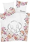 Arle-Living Disney Dumbo - der Fliegende Elefant Bettwäsche - 135x200 + 80x80 cm mit Wendemotiv - 100% Baumwolle Renforcé