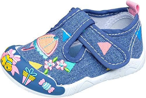 Kinder, Kleinkind, Baby Girl Schuhe (gibra® Freizeitschuhe Sneaker Ballerias für Babys, Kleinkinder, Kinder, Art. 8747, mit Klettverschluss, blau, Gr. 20)