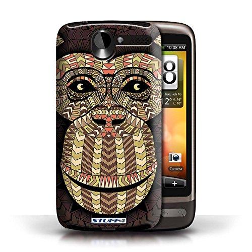 Coque de Stuff4 / Coque pour HTC Desire G7 / Loup-Bleu Design / Motif Animaux Aztec Collection Singe-Sépia