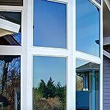 Rabbitgoo Vinilo para Ventana Lámina de Espejo Vinilo para Ventana Protector Solar Privacidad Para Ventana Adhesivo Espejo de Una Dirección Espejo Plata de Gran Reflexión Anti 99% UV de Control Solar 90*200CM