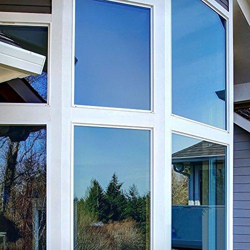 Rabbitgoo Spiegelfolie für Fenster selbstklebende Sonnenschutzfolie Sichtschutzfolie Fensterfolie Tönungsfolie 99% UV-Schutz Silber 44.5 x 200 CM