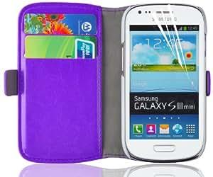 Galaxy S3 Mini Hülle, JAMMYLIZARD Luxuriöse Flip Cover Ledertasche mit Kartenfach für Samsung Galaxy S3 Mini, LILA