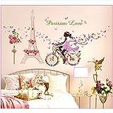 Shuyinju Schöne Blume Flower Fairy Fahrrad Eiffelturm Liebe Schmetterling Wohnkultur Wandaufkleber Mädchen Baby Kinderzimmer Wand Kunst Frauen Geschenk
