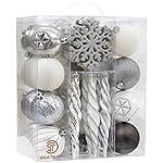 Sea Team, confezione da 62 ornamenti assortiti infrangibili per Natale, palline decorative, pendente con confezione regalo portatile riutilizzabile. Colore argento, bianco, grigio
