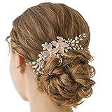 SWEETV peine de pelo de cristal de oro rosa para boda, peine lateral de peine de diamantes de imitación – hecho a mano flor pelo accesorio cabeza piezas para mujeres