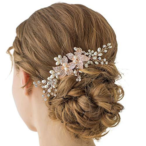 SWEETV Rose Gold Kristall Hochzeit Haarkamm Strass Seite Kamm - handgefertigt Blume Haar-Accessoire Head Stück für Frauen
