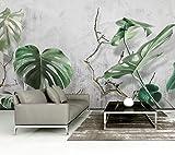 HONGYAUNZHANG Pflanze Grün Blätter Benutzerdefinierte Fototapete 3D Stereoskopischen Wandbild Wohnzimmer Schlafzimmer Sofa Hintergrund Wandmalereien,200Cm (H) X 280Cm (W)