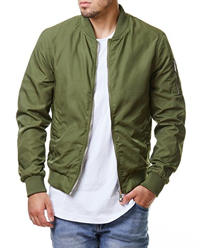 EightyFive Herren Jacke Übergangs Bomber Zipper Schwarz Khaki Camouflage EFS150, Größe:S, Farbe:Grün