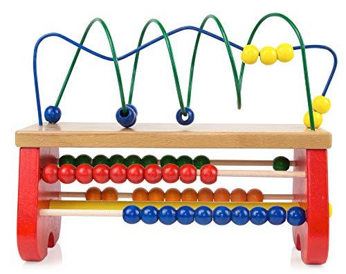 edu fun 20000 Geschicklichkeitsspiel aus Holz Abakus Rechenrahmen Zählrahmen Motorikschleife zur Förderung der Grobmotorik pädagogische Lernspielzeug für Kinder ab 3 Jahren
