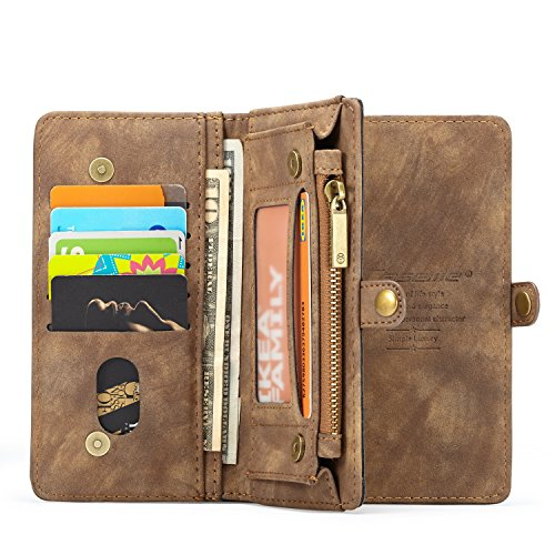 Galaxy Samsung S9 Braun Abnehmbarer magnetischer Hardcase Grau Hülle Tasche PU Leder Handy-Shell Hülle mit Kartenfächer Geldscheinfach Mit Kreditkarten Handy-Schutzhülle