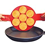 #6: Non Stick Pancake Ring Mold Flipper (Seven Holes) by HOUSE OF QUIRK Heat Resistant Fried Egg Mold Egg Ring Shaper with Handles, Fantastic Pancake Flipper,Baking Hash Brown / Omelette / Pastry Mold