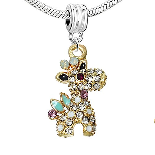 Sexy paillettes Femme Animal withrhinestone Charm pour bracelet giraffe charm bead