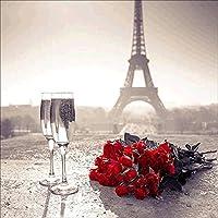 yibenwanligod DIY 5d Diamond pintura resina bordado de punto de cruz Kit de decoración para el hogar princesa belleza flores de la torre Eiffel talla única E