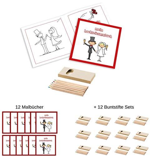 12 Malbücher für Kinder Plus 12 Packungen Buntstifte Hochzeit Malset zum Ausmalen (12 Malsets + 12 Buntstiftesets)
