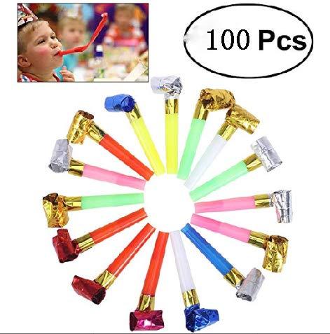 100 Stücke Partytröten Luftrüssel, Kunststoff Tröte Party Blowouts / Gebläse / Krachmacher / Pfeifen, Farbe Geschenk Party Blowouts für Graduierung Kinder Geburtstag Hochzeit Party Weihnachten
