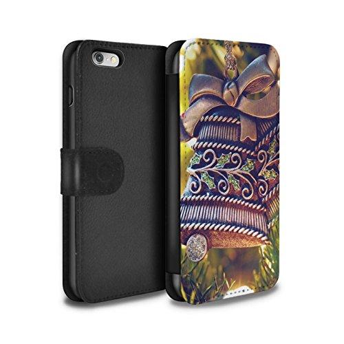 Stuff4 Coque/Etui/Housse Cuir PU Case/Cover pour Apple iPhone 6 / Pack 5pcs Design / Photo de Noël Collection Cloche Laiton