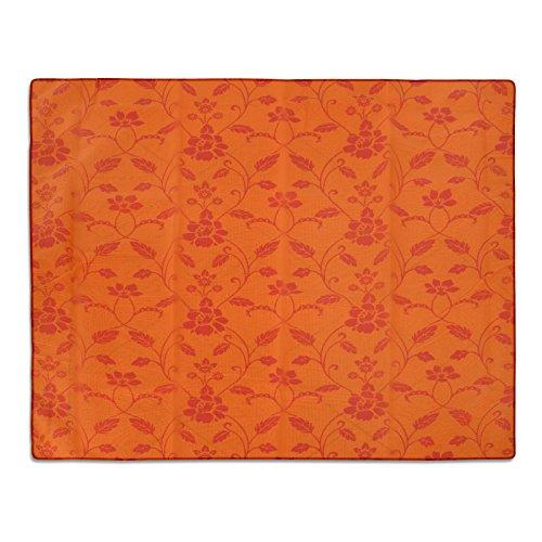 casa pura® Gartentischdecke Monika | orange mit Trend Blumenmuster | Weichschaum Tischdecke für Garten und Balkon | rechteckig 130 cm x 160 cm (Orange-blumen-tischdecke)