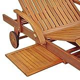 Gartenliege aus Eukalyptusholz verstellbar mit Tisch und Rollen - 6