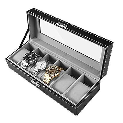 PIXNOR Uhrenbox mit weichen Kissen für 6 Uhren, Schmuck oder Armbandkollektion