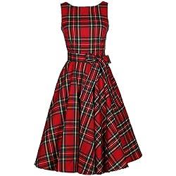 50s Vestidos Vintage Elegante Ceremonia de Boda Fiesta Mujer Vestido Retro Escocés Plaid Vestido sin mangas de la vendimia (S, Rojo)
