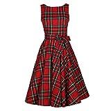 Vintage Scozzese Big Swing abiti senza maniche Donna cotone Plaid gonna abito da cocktail (M, Rosso)