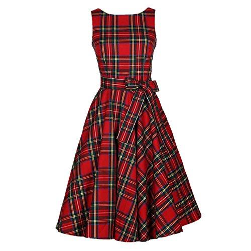 Vintage Scozzese Big Swing abiti senza maniche Donna cotone Plaid gonna abito da cocktail (S, Rosso)