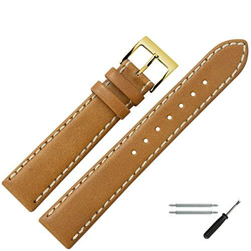 MARBURGER Uhrenarmband 22mm Leder Braun - Uhrband Set 8062232000220