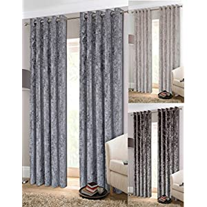 Choice of Colours /& Sizes Memphis Velvet Effect Lined Ring Top Curtains
