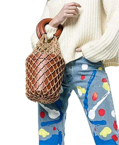 QGSDR Neu Aush?hlen Mesh Bag Tasche Damenmode Baumwolle Knoten Tote Korb Tasche Brown (Nylon Kurze Bag Tote)