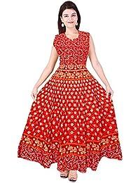 Mudrika Women's Cotton Jaipuri Animal Print Long Midi Dress Maxi (Multicolour, FR_3624, Free Size up to XXL)