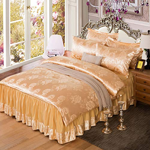 Satin Jacquard vierteilige einfache leichte Luxusbettwäsche Bettlaken Rock B 200cm * 230cm - Satin Wasserbett Blätter
